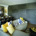Decorative concrete wall panels lounge room