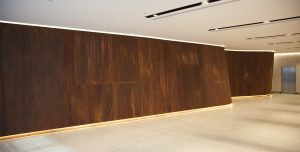 Rust finish curved metal wall